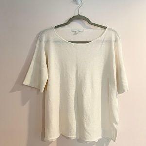 Bamford Linen Blend White Cream Top Sz M